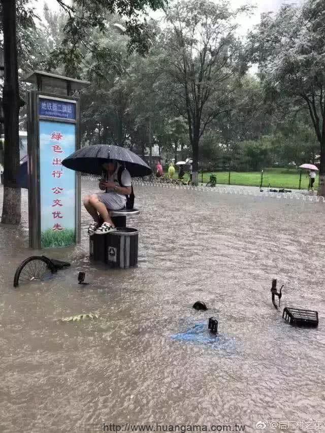 北京大雨,西二旗青年雨中淡定滑手機。(網路截圖)